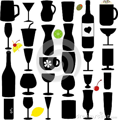 Silhouette vector set of Bottle and Glass