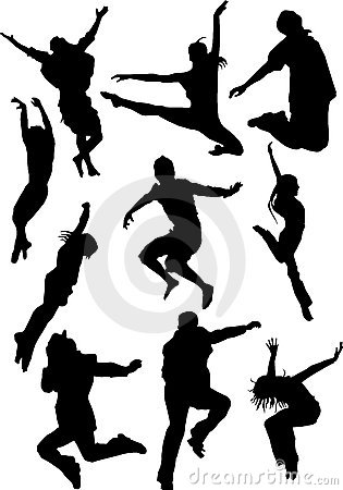 Silhouette view of human motifs, expressions, posi