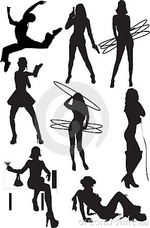 Silhouette view of human motifs, positions, moves