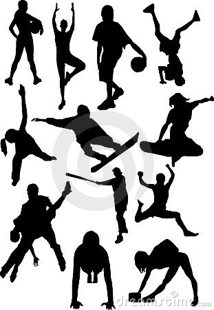 Silhouette view of human motifs,sports, positions
