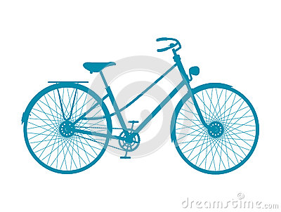 Silhouette of vintage bicycle in blue design