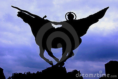 Silhouette of Warrior Statue with Sword