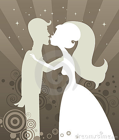 Silhouette Wedding de baiser