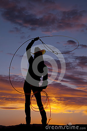 Free Silhouette Western Woman Twirl Rope Royalty Free Stock Photos - 33137918