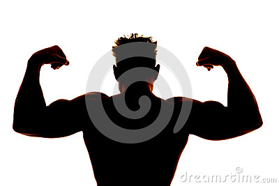 Silhouette wet man muscles back flex