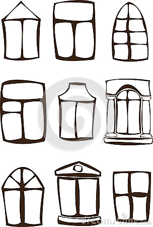 Silhouette windows set isolated on white