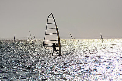 Silhouette of windsurfer
