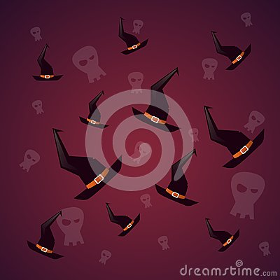 Free Silhouette Witch Hats And Skull Happy Halloween Banner  Stock Photo - 100491030