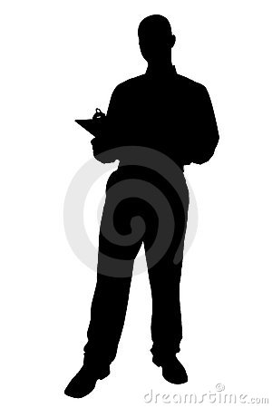 Free Silhouette With Clipping Path Of Business Man With Clipping Boar Royalty Free Stock Photography - 215267