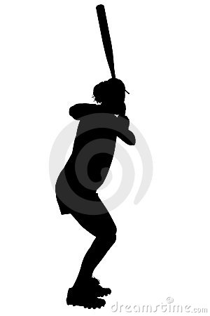 Free Silhouette With Clipping Path Of Female Softball Player Stock Image - 205261