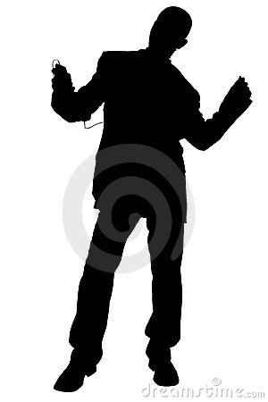 Free Silhouette With Clipping Path Of Man In Suit Dancing Wearing Hea Stock Images - 215274