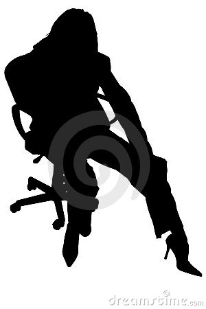 Free Silhouette With Clipping Path Of Woman In Chair Stock Photography - 1350062