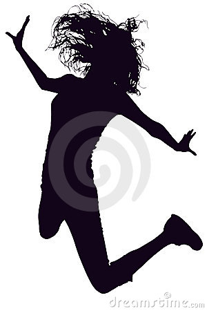 Free Silhouette With Clipping Path Of Woman Jumping Royalty Free Stock Images - 757669