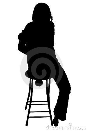 Free Silhouette With Clipping Path Of Woman Sitting On Stool. Stock Photos - 552613