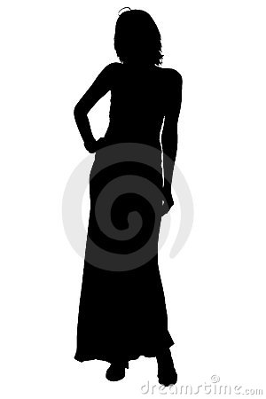 Free Silhouette With Clipping Path Woman In Formal Gown Stock Photos - 307613