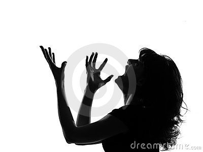 Silhouette woman angry screaming