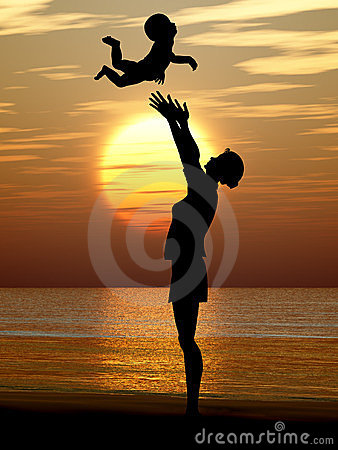 Silhouette of the woman and the baby