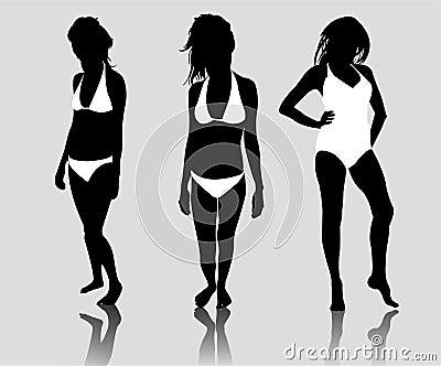 Silhouette woman bikini