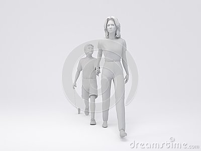 Silhouette Woman&Boy Walking