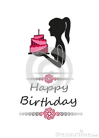 Silhouette Of Woman Carrying A Birthday Cake Happy