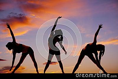 Silhouette woman fitness dance treo