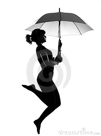 Free Silhouette Woman Flying  Holding Open Umbrella Royalty Free Stock Photos - 21139688