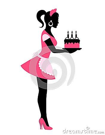 Black Woman Holding Cake