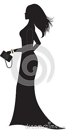 Silhouette of woman in long dress.