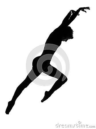 Silhouette woman modern dancer  dancing jumping exercising worko