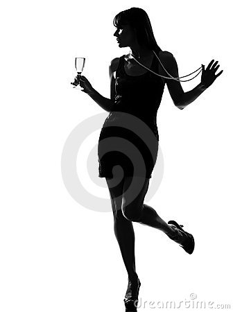 silhouette woman partying drinking champagne