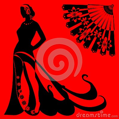 Silhouette of a woman on a red background
