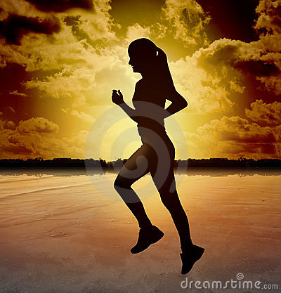 Silhouette Woman Running on Beach