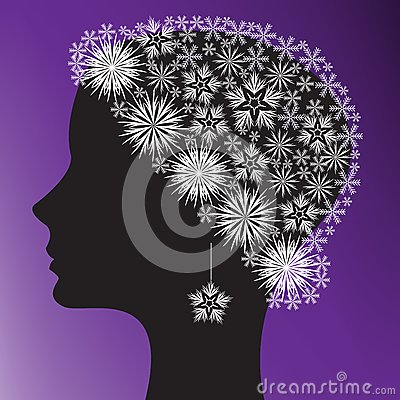 Silhouette of a woman s head
