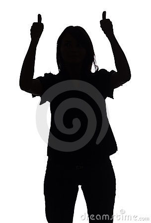 Silhouette of woman shows OK