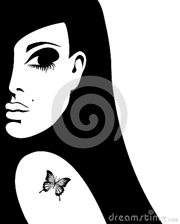 Silhouette of a woman with a tattoo of a butterfly