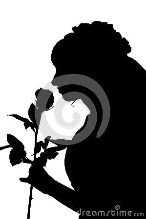 Silhouette of woman in wedding dress with rose