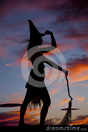 Silhouette Woman Witch Broom Hold Hat Stock Images - Image ...