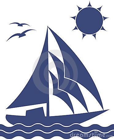Silhouette of the yacht
