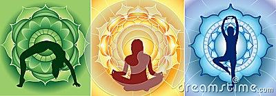 Silhouette of yoga girls on bright mandala