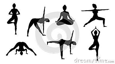 Silhouette yoga poses Vector Illustration