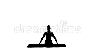 silhouette young attractive woman practicing yoga sitting