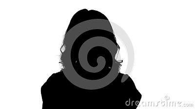 Silhouette Young blond woman being serious and then smiling. Changing in mood, emotions. Stock Photo