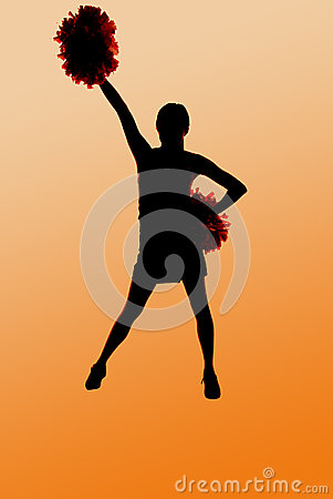 Silhouette of a young cheerleader with an orange b