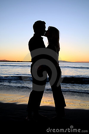Silhouette of a young couple k