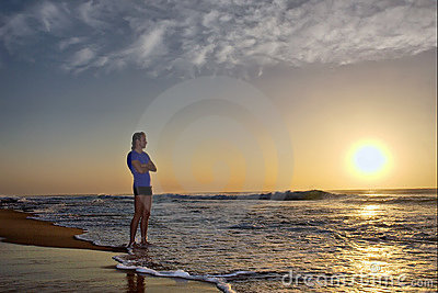 Silhouette Of Young Man On Beach Royalty Free Stock Photography - Image: 5435047