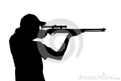 silhouette of a young man shooting stock photography