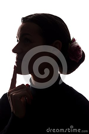 Free Silhouette Young Woman Lost In Thought, Finger At The Lips Royalty Free Stock Images - 109321809