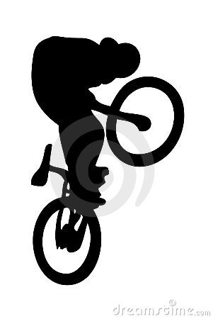 Silhouetted BMX rider on bike