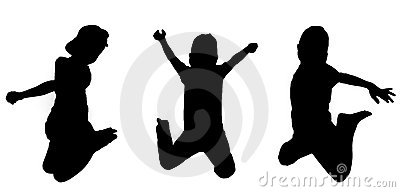 Silhouetted boys jumping