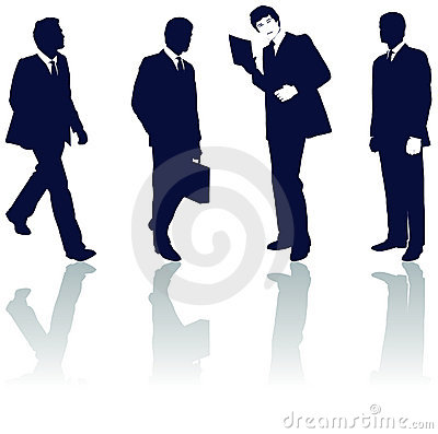 Silhouetted businessmen